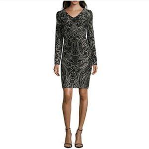 BLU SAGE | Long Sleeve Glitter Knit Sheath Dress